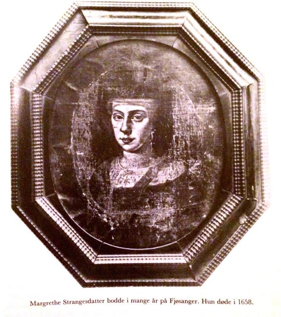 Margrethe Strangesdatter, datter av Sissel Hansdatter Ruus (1559–1615) og Strange Jørgensen (1539–1610). Hennes mor var en av Ruus-kvinnene som ble hekseri-anklaget. (Foto: faksimile fra Fana Bygdebok – 1. Fra de eldste tider til 1665)