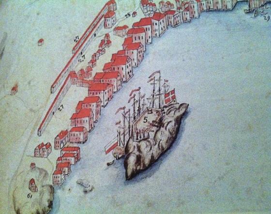 Christiansholm i Sandviken. Da holmen ble befestet i 1641befalte kong Christian den fjerde at Tyveholmen til offisielt skulle kalles Christiansholm. Utsnitt av et prospekt fra 1740. (Fritt pga. alder)