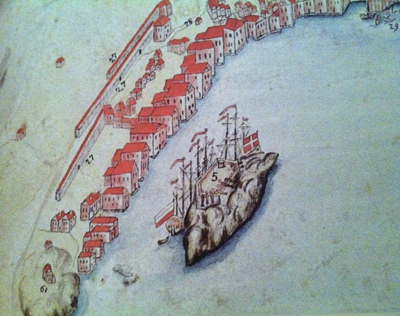 """Sandviken 1700. (Kartet er hentet fra """"Sandviken Enestående i Norge – integrert i Europa, utgitt av Det Hanseatiske Museum og Schøtstuene, Museum Vest)"""