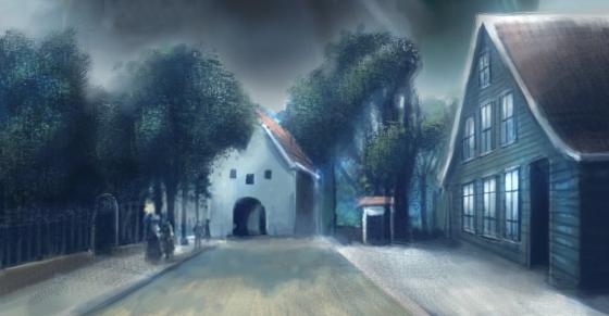 Emmaus til høyre. Utsnitt av nattmannens datter bok 10. (Illustrasjon: Vebjørn Strømmen)