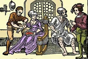 Årelating og behandling av hudsykdom hos en bartskjær på 1500-tallet (tresnitt, fritt)