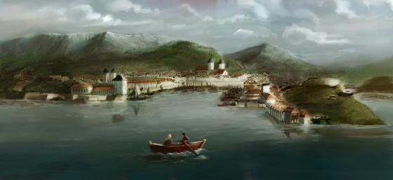 Vågen i Bergen. Nordnes er neset til høyre i bildet. Til venstre ses Sverresborg og Bergenhus. (Illustrasjon: Vebjørn Strømmen 2012)