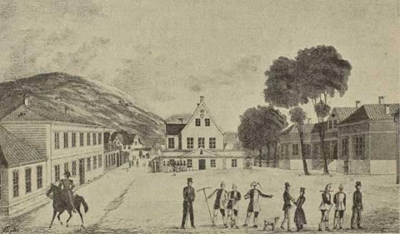 Raadhusalmindingen av J.F.L Dreier, ca. 1800 ((Billedsamlingen Marcus, UiB)