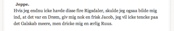 Faksimile bokselskap.no, fra Jeppe paa Bierget, akt 5, scene 4.