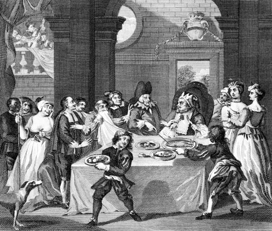 Satirisk bilde av en doktor anbefaler riktig kosthold til en rik mann på 1700-tallet. (iStock-fritt)
