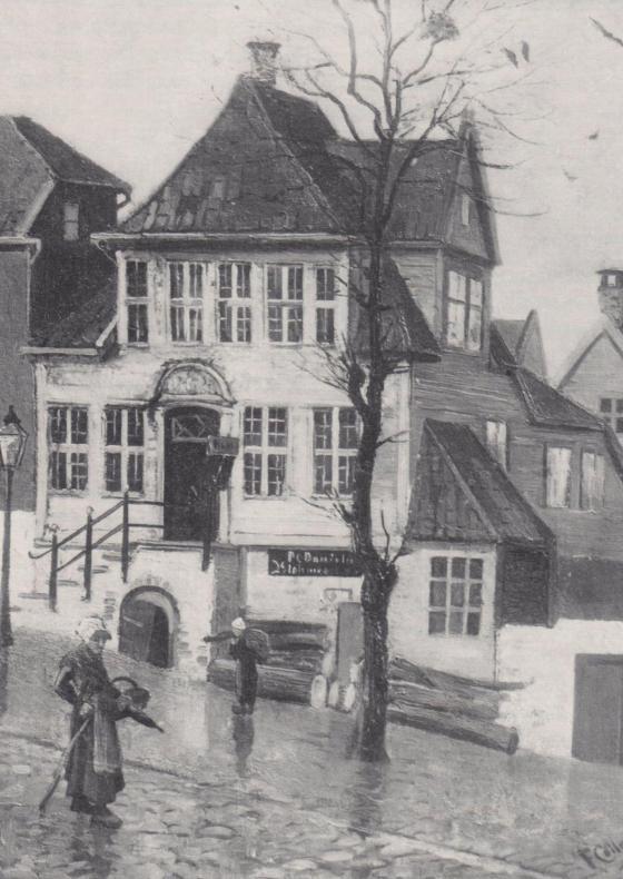 """Maleri av Frederik Collett (1839–1914). Gjengitt i boken """"Bergen en by i vekst"""" utgitt i anledning A/S Paal Kahrs 100-års jubileum 1964. Skrevet av Gustav Brosing."""