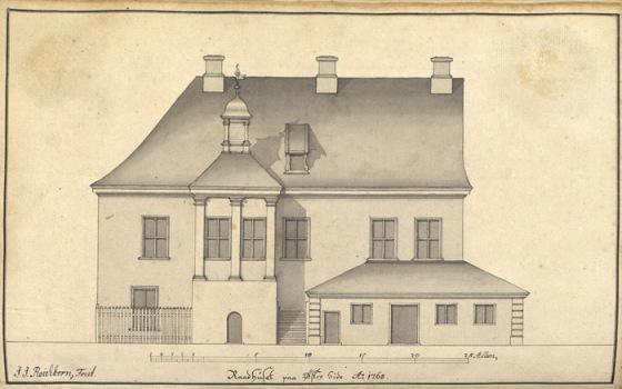 Raadhuset i Bergen, østre side. Tegning av arkitekt J.J. Reichborn 1765 (fritt)