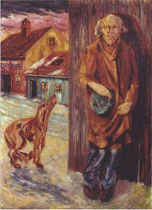 Vagabonde og hund i Oslo - (Aksel W. Johannessen – The Vagabond and the Dog 1920) (fritt-Wikimedia Commons, repro fra kunstbok)