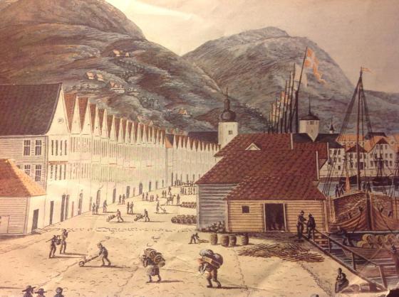 Bryggen 1817 (J.F.L Dreier, fritt)