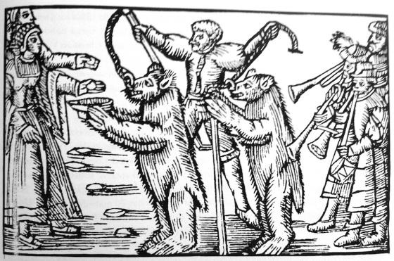 Dansende bjørner (Olaus Magnus 1555)