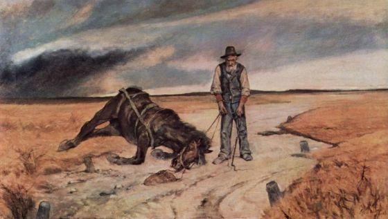 Bonden kunne ikke selv ta seg av kadaveret når et dyr døde. (Giovanni Fattori 1903) (Fritt, Wikimedia Commons)
