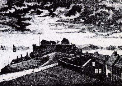 Fredriksberg, tegning fra 1875 av Nicolay Nilsen (fritt, Wikipedia)