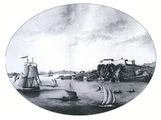 Fredriksberg, Nordnes på begynnelsen av 1800-tallet. (J.F.L. Dreier)