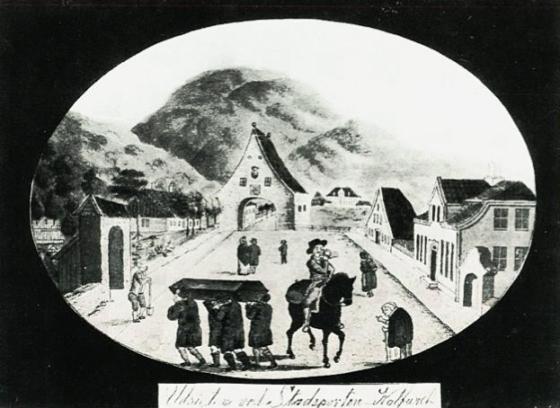 Likfølge ved Stadsporten i 1822. (J.F.L. Dreier)