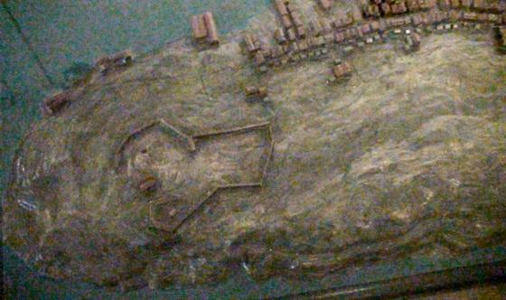 Nordnes, modell av Bergen ca. 1665 på Historisk museum (Foto: MLR 2011)