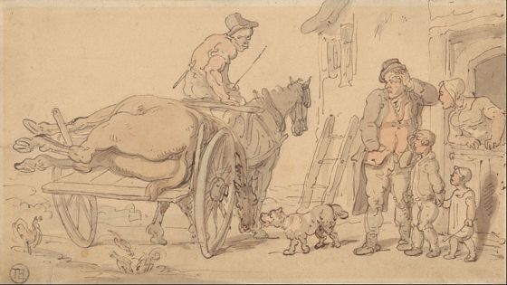 A Dead Horse on a Knacker's Cart av Thomas Rowlandson (1756–1827) (Fritt, Wikimedia Commons)