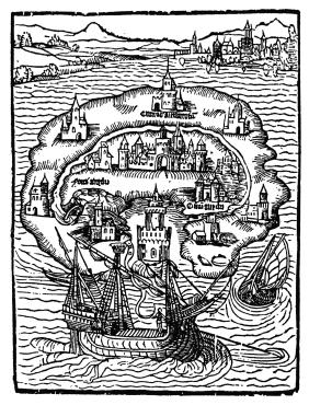 Utopia, tresnitt til boken av Thomas More, 1516 (fritt)