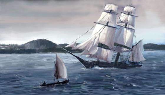 Utsnitt av illustrasjonen på bok 12. Fjellene i bakgrunnen er faktafeil, men det tar jeg på min kappe. Det er tegnet etter et foto jeg tok på Hope, så dette er i Grimstadfjorden som er en avstikker i den ruten Lucie og de andre seilte fr Bergen til Fana. (Vebjørn Strømmen)