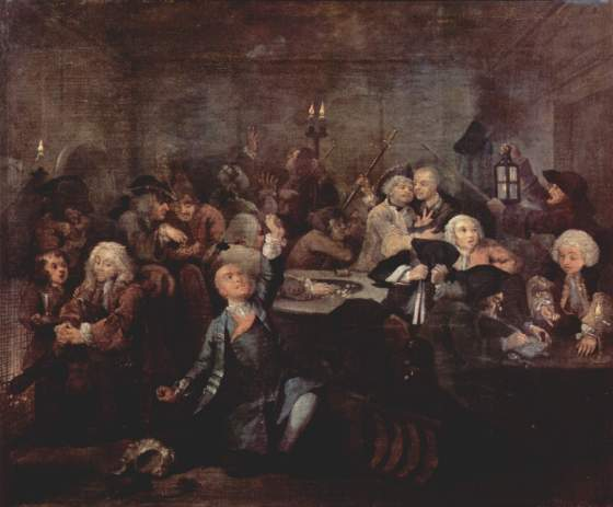 Hasardspill i en kro-(William Hogarth 1732-35. Fritt)