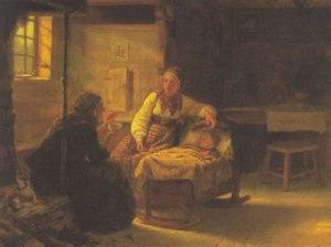 """En signekone hjelper et sykt barn.  """"En Signekjerring"""" av Adolph Tidemand, 1848. (Kilde: Fritt/Wikipedia)"""