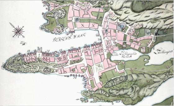 Bergen 1768. (Wikipedia-fritt)