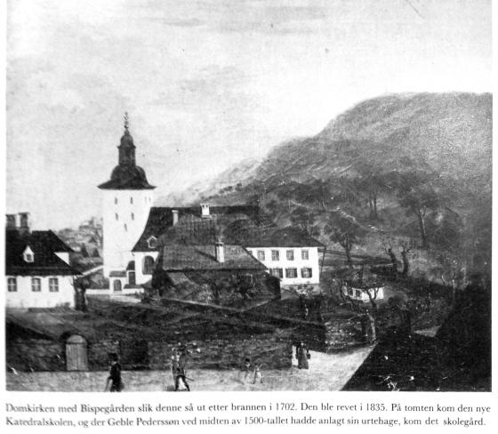 Domkirken med bispegården (Faksimile fra Bergen bys historie II)