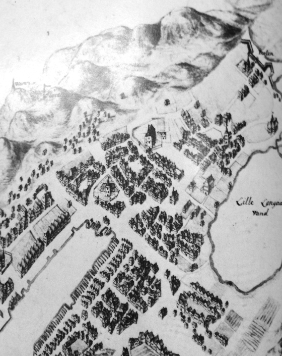 Domkirken i Bergen i 1730-årene. (Riksarkivet/Bergen bys historie bind II)