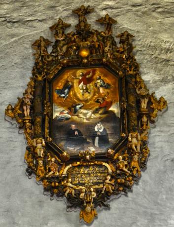 Utsnitt av epitafiet i Domkirkens våpenhus (Foto: Arvid Reidar Storaker)