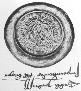Geble Pederssønns segl og navnetrekk. På et brev fra 1539 i Riksarkivet. (Kilde: Bergen bys historie bind II)