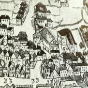 """Gamle Rådhus (merket med """"15"""") i 1740"""