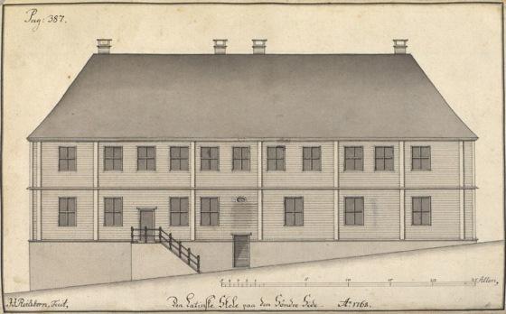 Latinskolen tegnet av J.J. Reichborn i 1764. (Wikipedia-fritt)