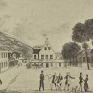 Rådstuen og Rådstuplass, tegning av J.F.L Dreier, begynnelsen av 1800-tallet
