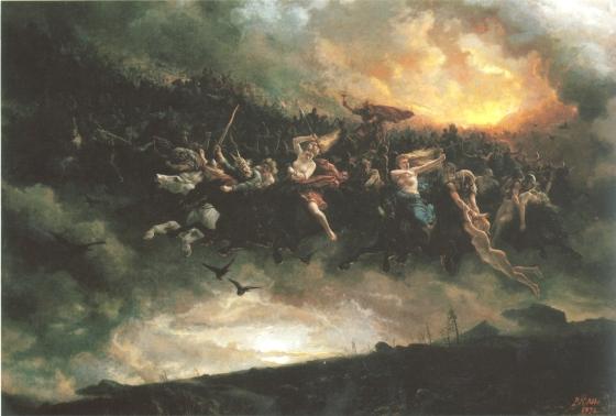 Åsgårdsreien var et broket følge av døde sjeler. De kommer ridende om natten og særlig i tiden rundt jul. «Åsgårdsreien» av Peter Nicolai Arbo, 1872 (fritt)