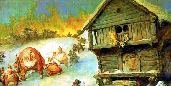 """Lussi var stammor til alle de underjordiske, og i julen var de særlig aktive.  """"Julereia"""" av Nils Bergslien, 1922 (fritt)"""