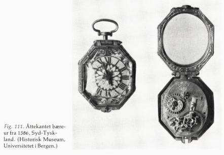 """Bæreur 1586, Historisk museum Bergen. (Faksimile fra boken """"Urmakerkunst i Norge: fra midten av 1500-årene til laugstidens slutt"""", Olav Ingstad, 1980)"""