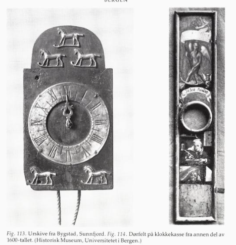 """Ur fra 1600-tallet, Historisk museum, UiB. (Faksimile fra boken """"Urmakerkunst i Norge: fra midten av 1500-årene til laugstidens slutt"""", Olav Ingstad, 1980"""