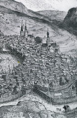 Domkirkens urskive kan ses på Scholeusstikket fra 1570. Klikk på bildet for større versjon.