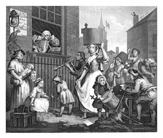 """Ikke alle satte pris på latinskoleelevenes sang og spill i byen. (Illustrasjonsbilde: """"Enraged musician"""" av William Hogarth, 1741 (Kilde: wikipedia, fritt))"""