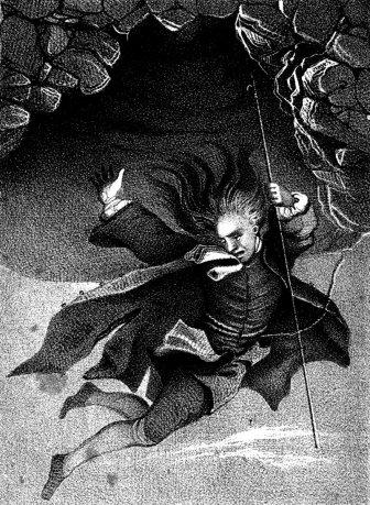 «Nils Klims fall til den underjordiske verden» av Jens Juel, 1789. (Wikipedia, fritt)
