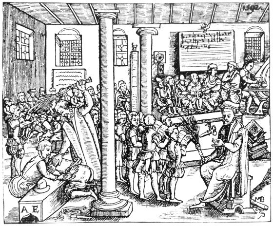 En skolescene fra 1592. Også ved de bergenske skolene på 1500-, 1600- og 1700-tallet var riset et vanlig avstraffelsesmiddel. (Kilde: Nordens eldste barneskole 1740-1990)