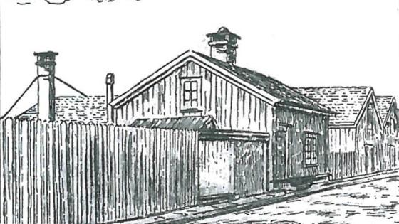 Nattmannens hus i Trondheim lå lengs ut i Ila, like ved Byporten. (Foto: Sverresborg museum, gjengitt med tillatelse)