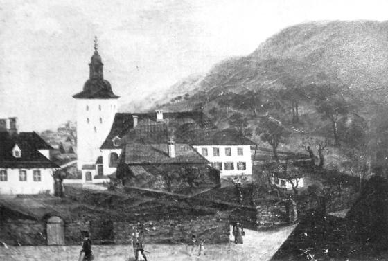 Domkirken og Bispegården på 1700-talle (Kilde: Bergen bys historie bd II, Anders Hagen, 1979)