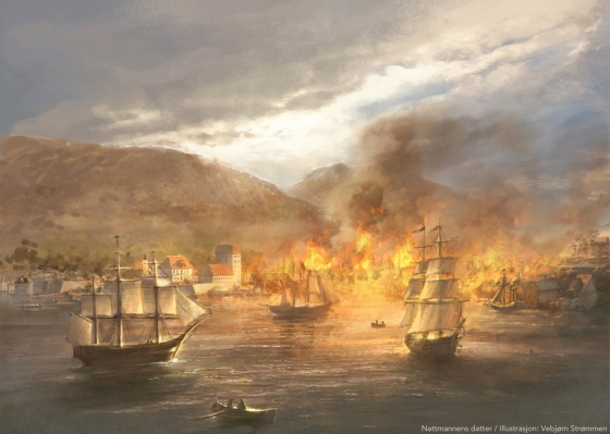 Bybrannen i Bergen 19. mai 1702. (Illustrasjon: Vebjørn Strømmen)