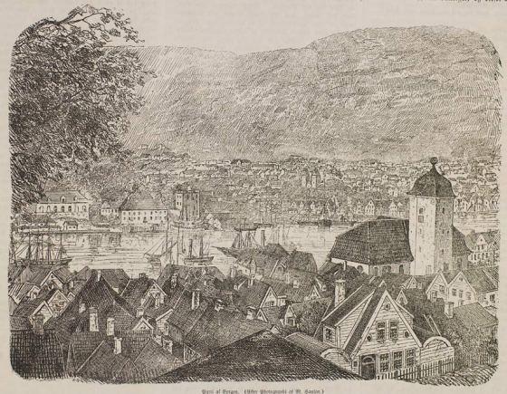 Fra Nordnes med Nykirken i forgrunnen  1856 (Mathias Hansen, UBB-BS-OK-18456)
