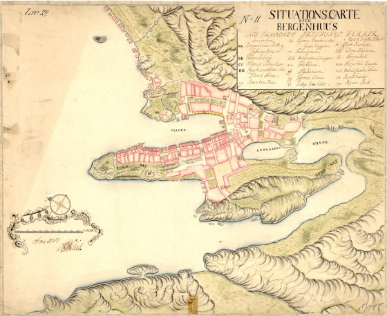 Bergen 1757 (Statens kartverk)