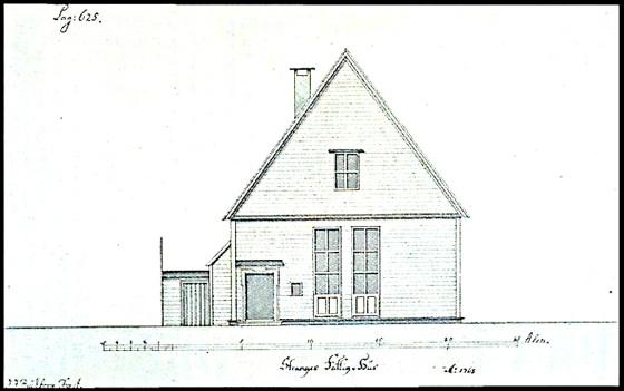Stranges stiftelse tegnet i 1768 av JJ Reichborn, samme mann som tegnet Manufakturhuset slik det står nå.