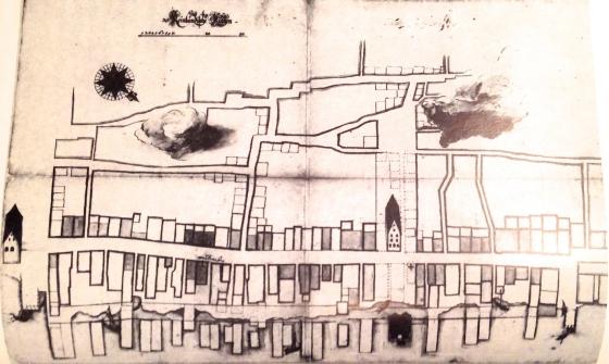 Strandgaten med Muren på venstre side. Jørgen thor Møhlens hus og handelsgård var nærmest Muren på nedsiden mot sjøen. (Bilde fra Bergen bys historie II)