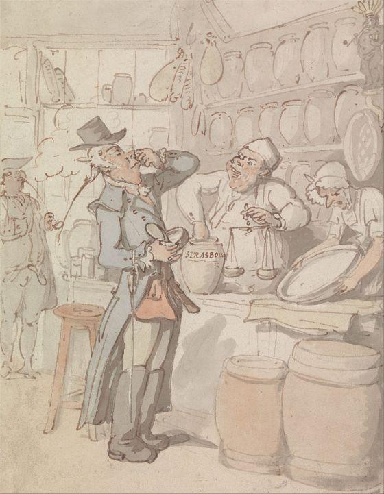 En mann kjøper snus, av Thomas Rowlandson (Fritt/Google Art Project)