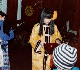 Meg i en kimono min farfar kjøpte i Japan da han var sjømann.