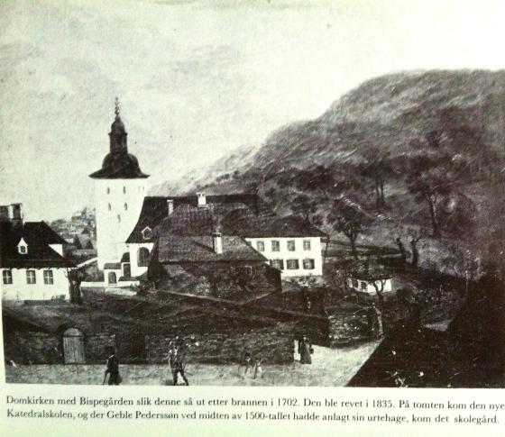 Domkirken med bispegården og  bispehagen, hvor det i Lucies tid vokste både vindruer, fikentrær og laurbærbusker. (Bildet er fra Bergen bys historie II)